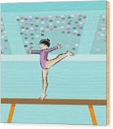 Girl Jumps On One Foot On The Balance Beam Wood Print