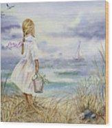 Girl And Ocean Watercolor Wood Print
