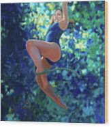 Girl On A Rope Wood Print