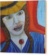 Girl On A Train Wood Print