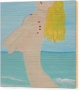 Girl On Beach Wood Print