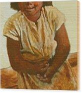 Girl On Bench Wood Print