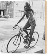 Girl On Bike Sculpture Grand Junction Co Wood Print
