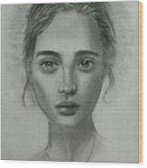 Girl On Canvas Wood Print