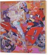 Girl On Red Bike Wood Print