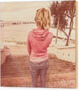Girl On Redcliffe Travel Holiday Wood Print