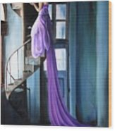 Girl On Staircase Wood Print