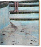 Girl On Steps Of Empty Pool Wood Print