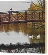 Girl On The Bridge Wood Print