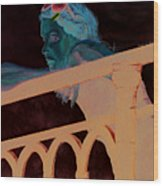 Girl On The Rail Wood Print
