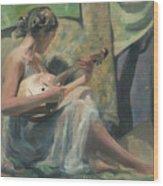 Girl Playing Domra  Wood Print