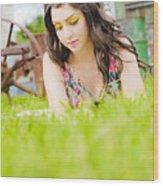 Girl Reading Book Wood Print