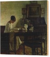 Girl Reading In An Interior  Wood Print