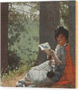 Girl Reading Under An Oak Tree Wood Print