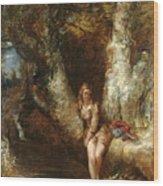 Girl Seated Beside A Woodland Pool Wood Print