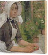 Girl Shelling Peas Wood Print