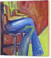 Girl Sitting Wood Print