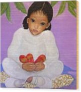 Girl Sitting Under Mango Tree Wood Print