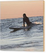 Surfer Girl Trying To Catch A Wave Wood Print