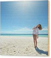 Girl Under The Sunshine Wood Print