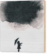 Girl Waiting For Rain Wood Print