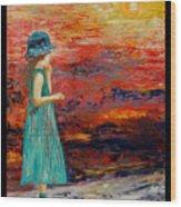 Girl Watching Sunset Wood Print