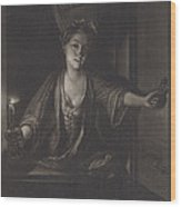 Girl With A Candle Wood Print