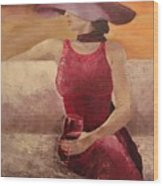 Girl With A Glass Wood Print