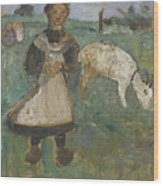 Girl With A Goat  Wood Print