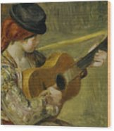Girl With A Guitar Wood Print by Pierre Auguste Renoir