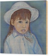 Girl With A Hat Wood Print