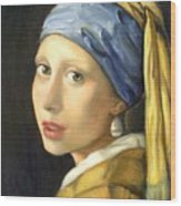 Girl With A Pearl Earring Wood Print