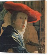 Girl With A Red Hat Wood Print by Jan Vermeer