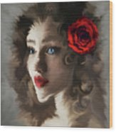 Girl With A Red Rose.. Wood Print