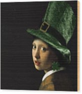 Girl With A Shamrock Earring Wood Print