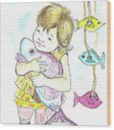 Girl With A Toy-fish Wood Print