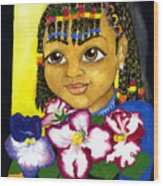Girl With African Violet Wood Print