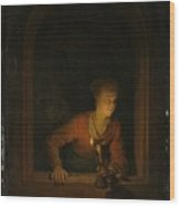 Girl With An Oil Lamp At A Window Wood Print