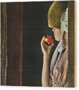 Girl With Apple Wood Print