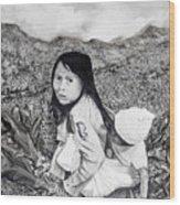 Girl With Babie Wood Print