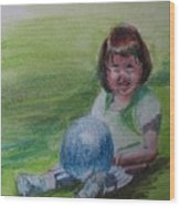 Girl With Ball Wood Print