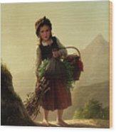 Girl With Basket Wood Print
