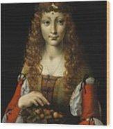 Girl With Cherries  Wood Print
