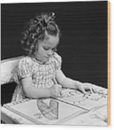 Girl With Coloring Book, C.1960-40s Wood Print