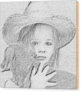 Girl With Dog Wood Print