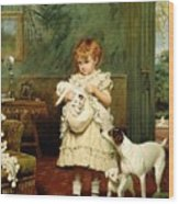 Girl With Dogs Wood Print