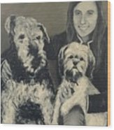 Girl With Dogs In Black And White Wood Print