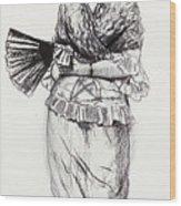 Girl With Fan Wood Print