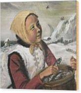 Girl With Fish Basket Wood Print