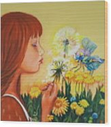 Girl With Flower Wood Print